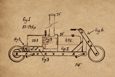 Mechanical drawing, late 1840's, steam-powered velocipede, Kate Tattersall Adventures.