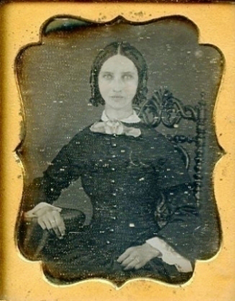 A 1/9th plate daguerreotype, increased about four times.