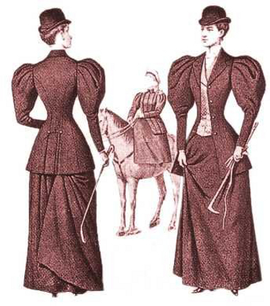 Fashion history. Drawing of a tailor made suit. Costume History