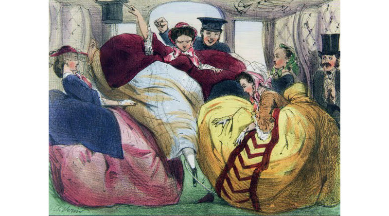 A French ink and watercolour from the 1850s, showing women struggling in a first-class train carriage. The girl in the middle might be about to take an embarrassing tumble. Note that she is grabbing a hat brim cord, these were installed for hat storage in carriages and train cars.