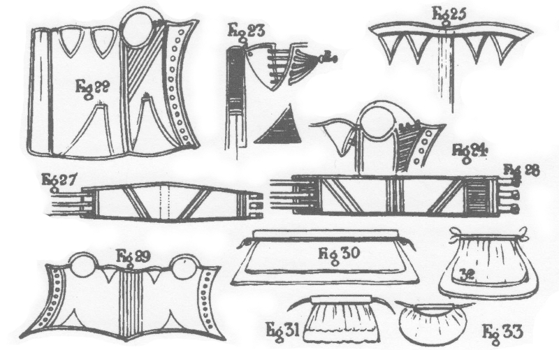 Part of plate 11, showing stays and bustles, from The Workwoman's Guide, 1840.