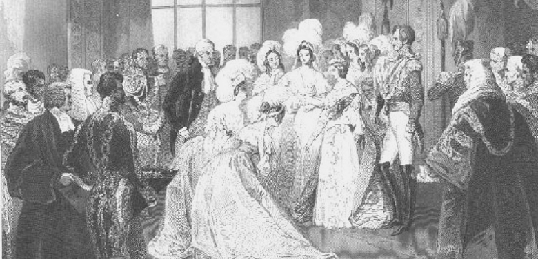 Court presentation in the Queen's drawing room, St. James's Palace, 1843, by Sir J. Gilbert. While it is a formal ceremony, it appears quite casual compared to what evolved  during the later decades of the 19th century.