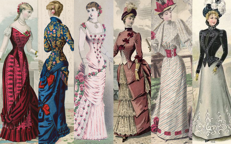 Fashion plates from the 1880s and 1890s. The silhouette grew top-heavy, the bustle shrank, and the waists remained tiny.