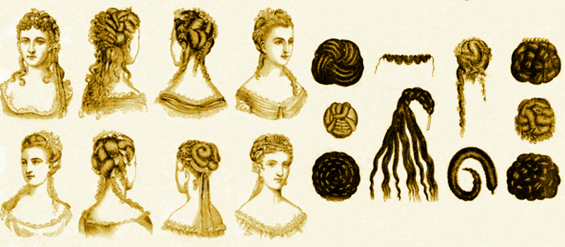 An assortment of Victorian hair pieces made available for sale in catalogues. There were hundreds to styles, and also custom made choices. They were listed as coiffures and chignons.