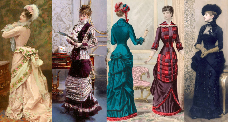 "Natural Form Era (1877-83) paintings and a fashion print showing the kind of outfits that were considered ""natural"" by the Victorians. Note that bustles were worn to a degree during the era."