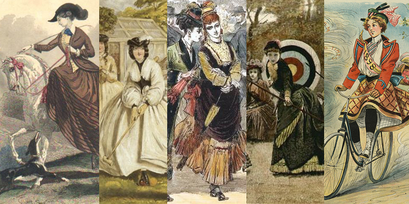 A few Victorian women's pass times. Riding in the 1840s, croquet in the 1850s, roller skating in the 1870s, archery in the 1880s, and cycling in the 1890s. Lots of exercise was the key to good health, then as now.