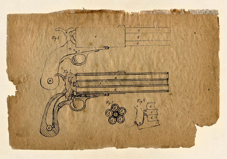This is a particularly fine drawing of a five barrel pistol. It is similar to what patent drawings were done like in the era. This may be the model Kate carried on her adventure in India, along with a little simpler version she had in China.