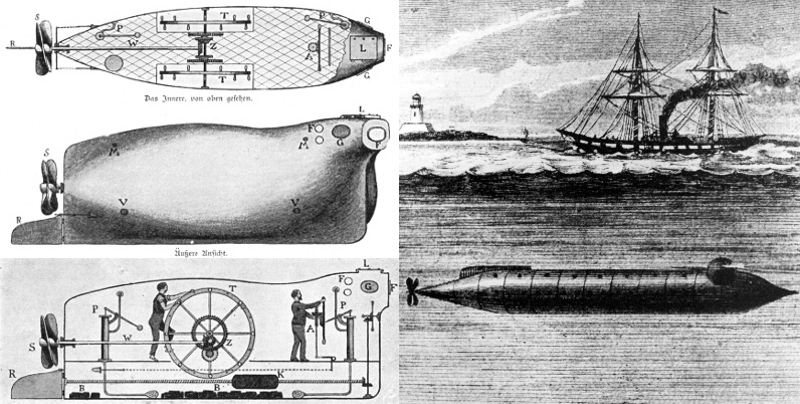 Brandttaucher (Fire-diver) 1850, and the USS Alligator 1863.