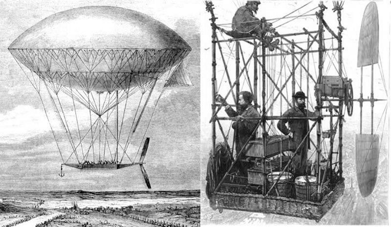 Dirigibles by Dupuy de Lôme 1872, and Tissandier 1883.