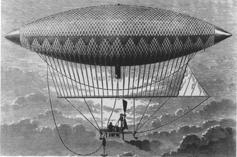 The Giffard Dirigible, flying from Paris to Trappes, 1852, Kate Tattersall Adventures.