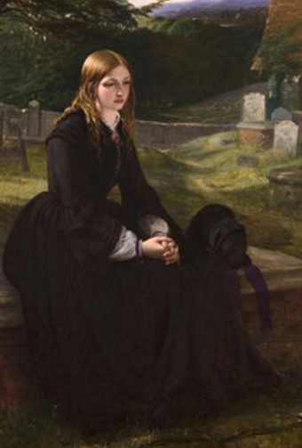 The Sister's Grave, 1857, by Thomas Brooks (1818-91), the subject wears dull black, but has a purple ribbon on her bonnet, and matching trim on her engageantes (under sleeves).
