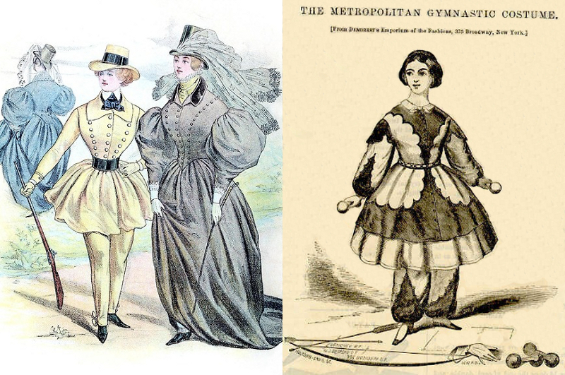 An 1835 fashion plate by Louis-Philippe of a hunting suit and riding habits, and an 1858 gymnastics costume from Godey's Magazine.