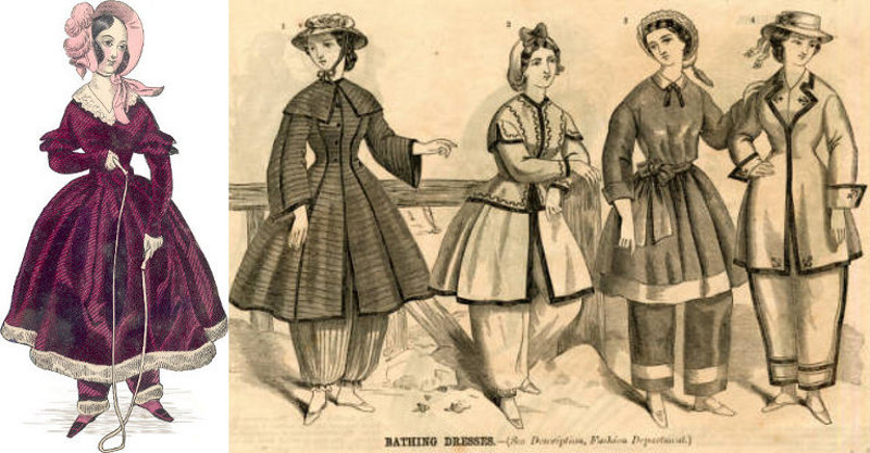 A crimson velvet fur trimmed play suit from 1838, and bathing suits from 1864, courtesy of Yesterday's Thimble.
