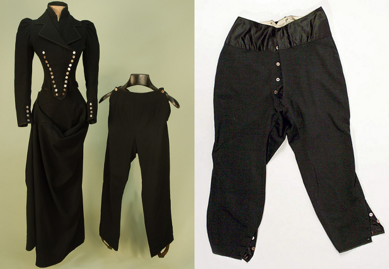A three piece riding habit from 1885, and a pair of breeches, perhaps as old as the 1850's. The buttons on the left side on both legs are for riding side-saddle.