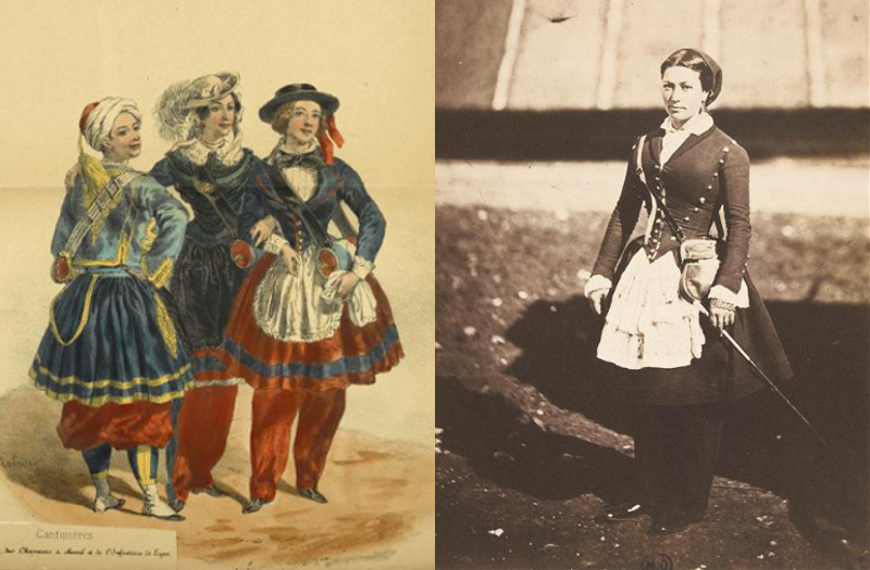 Cantinières by an unknown artist, and a photo taken by Roger Fenton during the Crimean War, in 1855.
