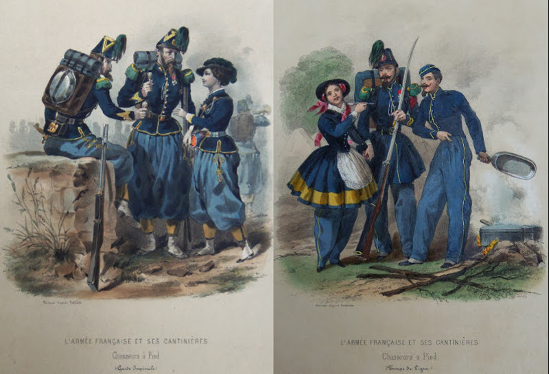 Two Chasseurs a Pied regiments, the one cantinière's uniform is very much like the men's, while the other is quite different.