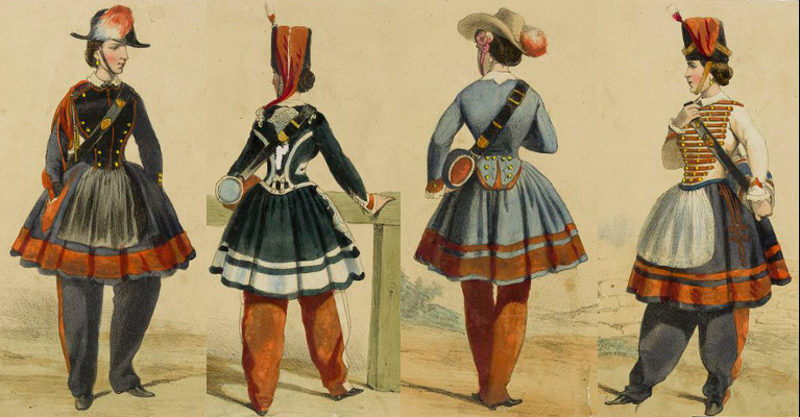 Hand-coloured lithographs, French Vivandières, 1850-70.
