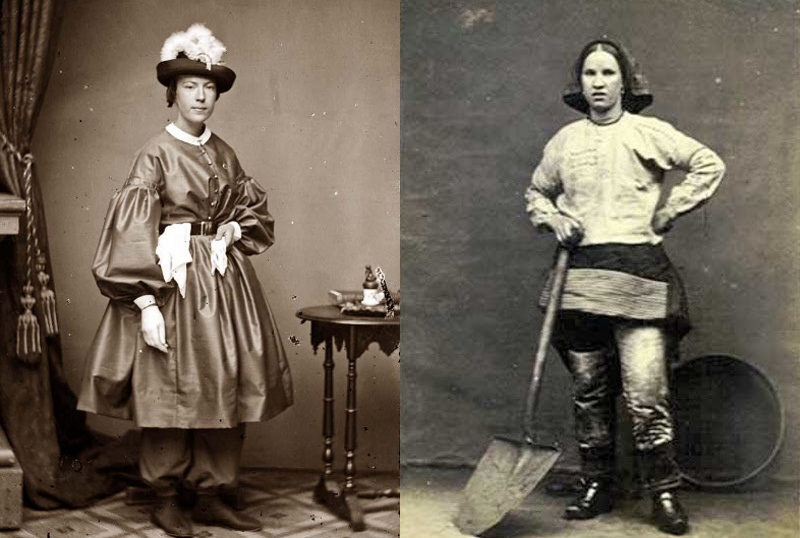 Mrs. Tibitts, taken in the 1860's, wearing a sort of bloomer suit, and a Wigan England coal miner from late in the 1800's.