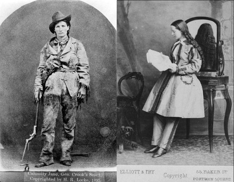 Martha Jane Canary, better known as Calamity Jane, who adopted male dress around 1874, and Dr. Mary Edwards Walker, shown here in the 1870's, after serving as a surgeon and receiving the Medal of Honour during the American Civil War. She often wore a black suit for the rest of her life.