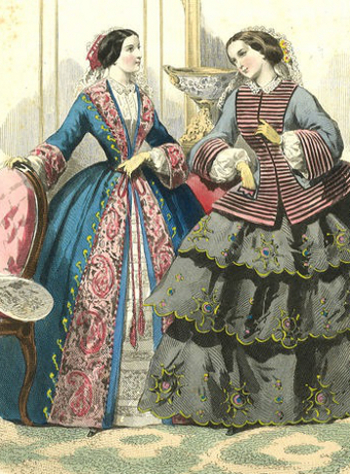 A rare example of a fashion plate showing a lady 'at home' in her wrapper, receiving a guest, circa 1850s.