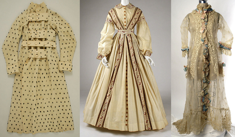 A British dressing gown circa 1830, an American wrapper circa 1860, and a French peignoir circa 1870.