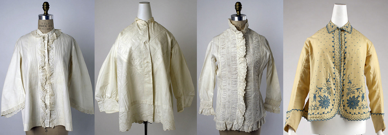 Night-jackets from 1860 to 1880. I found patterns from as early as 1830.