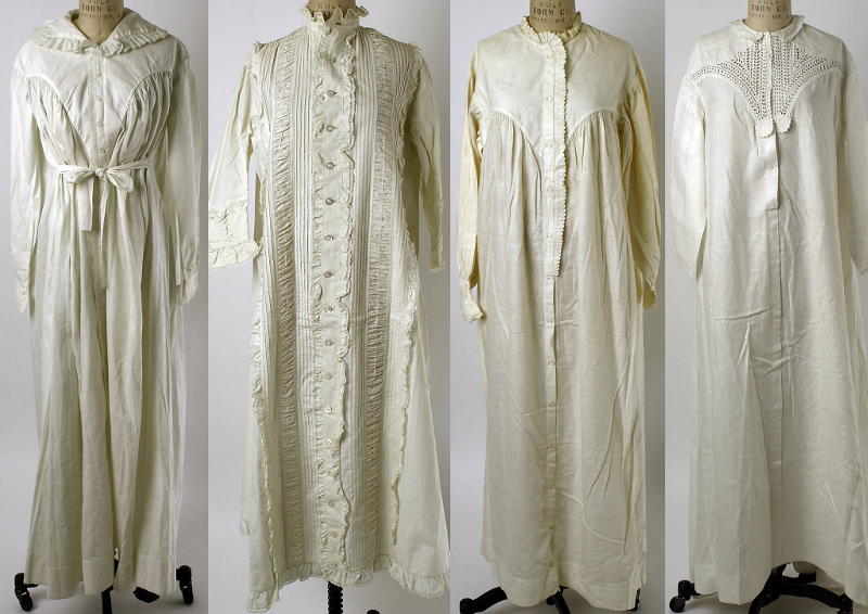 Nightgowns, 1821 to 1863, made in Europe and America.