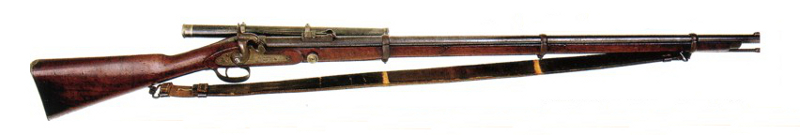 Whitworth rifle circa 1860 with side mounted scope.