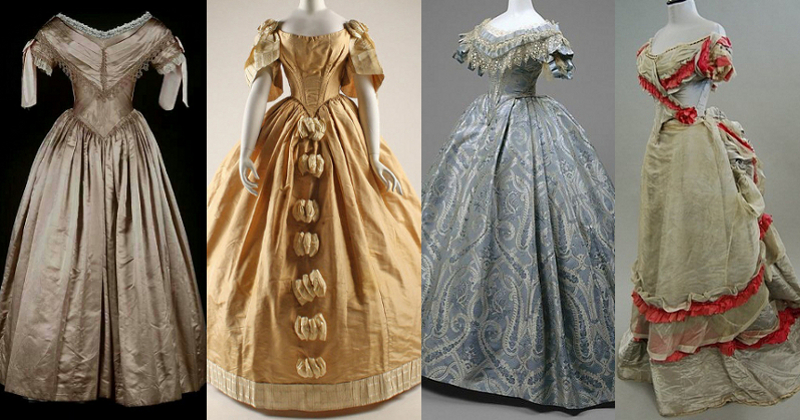 Ball gowns 1840s to 1870s
