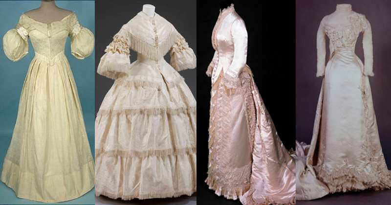 Wedding dresses, from left to right; circa 1840 bust 30 waist 22, 1857 bust 32 waist 25, circa 1880 bust 35 waist 22, and 1898 bust 32 waist 19. Busts were built up with frills and padding, waists had three or more layers.