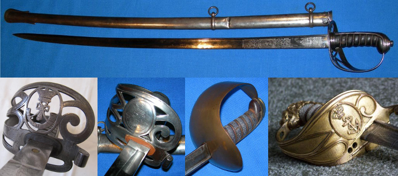 1827 Pattern Infantry Officer's Sword and some of the guard variants. Two on the left are rifle regiments, there is a plain brass bowl, and the Royal Navy on the right.