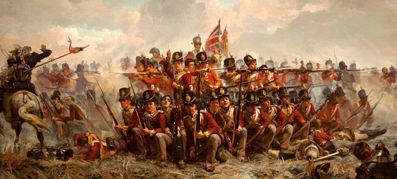 28th Foot at Quatre Bras, 16 June 1815, by E. Thompson (1846 - 1933). Formed in square to fend off cavalry, an officer (centre without headdress) uses his sword to point out the next threat to his stoic sergeant. Mounted officers wait at the centre of the formation with the Regimental and King's Colours, prepared to flee lest the square should fail.