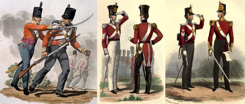 53rd Light Infantry (1812), 86th Foot (1842), and 12th Foot (1848), showing officers with their swords. At least the first two are wearing shoulder belts and have frog attachment points on their scabbards. All the scabbards are leather with brass fittings. Note: both sergeants are saluting with their left hands. Salutes were carried out with whichever arm was closest to the officer, and not returned, the curtsey being the officer giving the lower rank his attention. Standardized right-handed saluting was established around 1917.