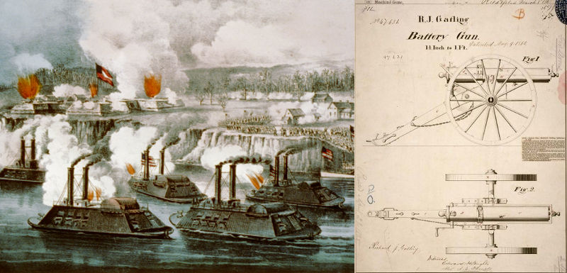 Ironclad battle ships unleash a savage bombardment, Battle of Fort Hindman 1863, and a Gatling gun patent drawing 1865.
