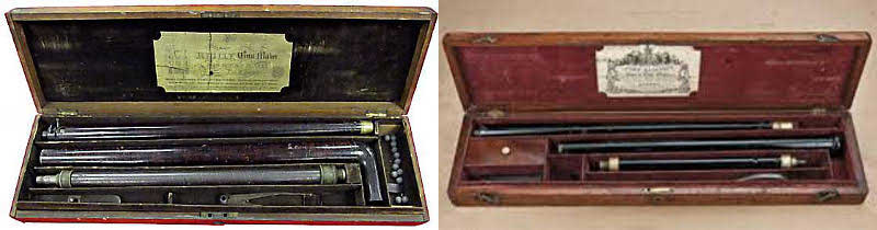 Examples of air gun canes in original cases. A Reilly on the left, a Blisset on the right, circa 1850-66.