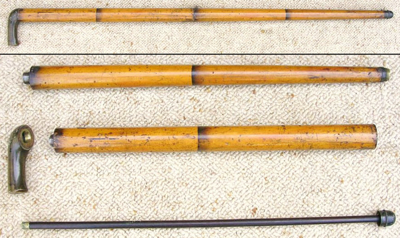 """Blisset """"bamboo"""" air cane, shown complete at the top and disassembled. The faux horn handle is a hollow metal tank."""
