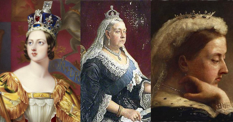 Queen Victoria depicted in her Imperial State Crown, mourning crown, and diamond and sapphire tiara.