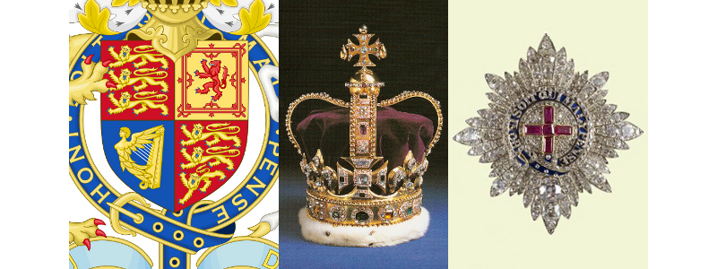 Royal Arms detail of the shield, St Edward's crown, and Queen Victoria's gem encrusted Garter star