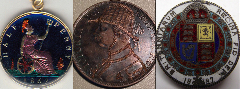 A pendant, a penny with Victoria altered into an army officer, and a brooch.