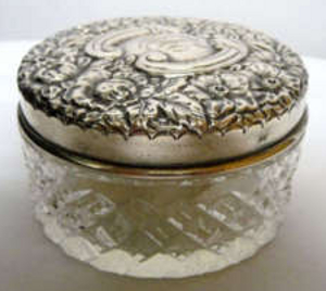 Cut crystal powder jar, sterling silver lid, 1852-65.