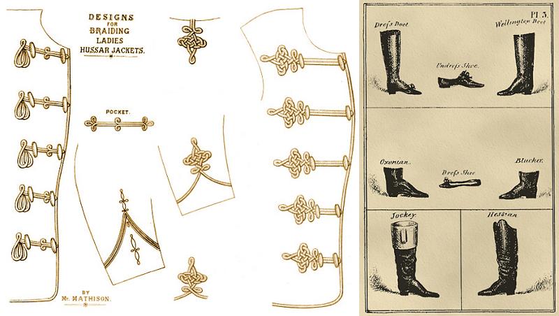 Hussar dolman braids 1885, Regency boots