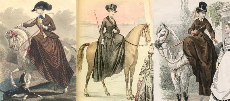 Riding habits 1840s, 1853, 1867.