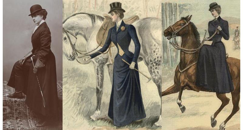 Riding habits 1895, 1898, 1900.