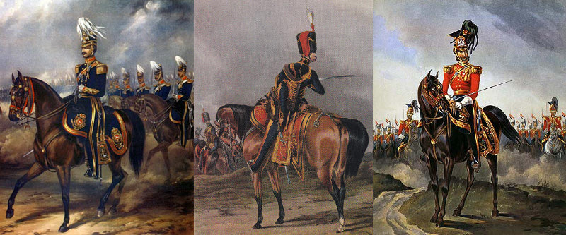 Officers, 3rd Light Dragoons 1840, 10th Hussars 1844, 16th Lancers 1846