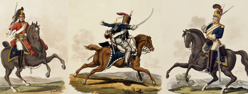 Troopers, 1st Dragoon Guards, 7th Hussars, Royal Horse Guards, 1812