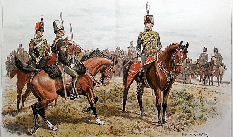 19th Hussars by John Charlton (1849-1917). The men depicted in their dress uniforms, late 1800s, a corporal trumpeter on the left, a sergeant centre, and an officer on the right.