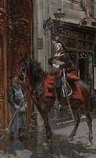 Detail of The Despatch Rider 1879, Giovanni Boldini (1842-1931).