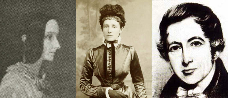 Lady Lovelace depicted in 1852 just before she died, a photo of Annabella taken in 1883 when she was Lady Anne the 15th Baroness Wentworth, and a sketch of Andrew Crosse as a young gentleman scientist.