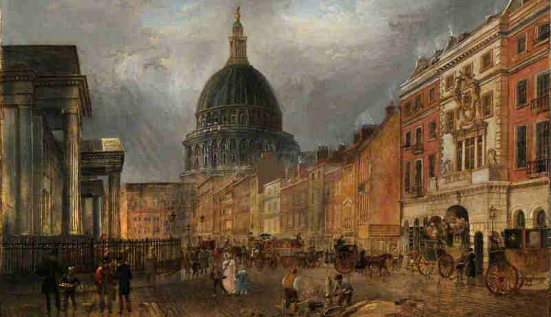 A London street scene, St. Martin's Le Grand by James Pollard, circa 1840.