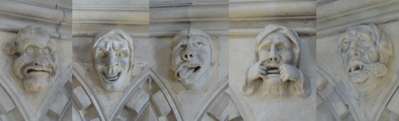 Carved heads from within the Round, Temple Church, London.